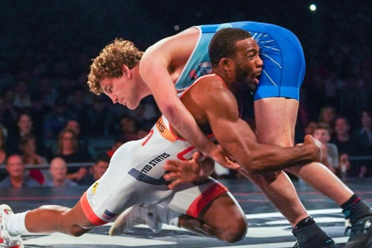 3cf3a356d1e0 Jordan Burroughs goes to take down Ben Askren. Photo  United World Wrestling  Dustin