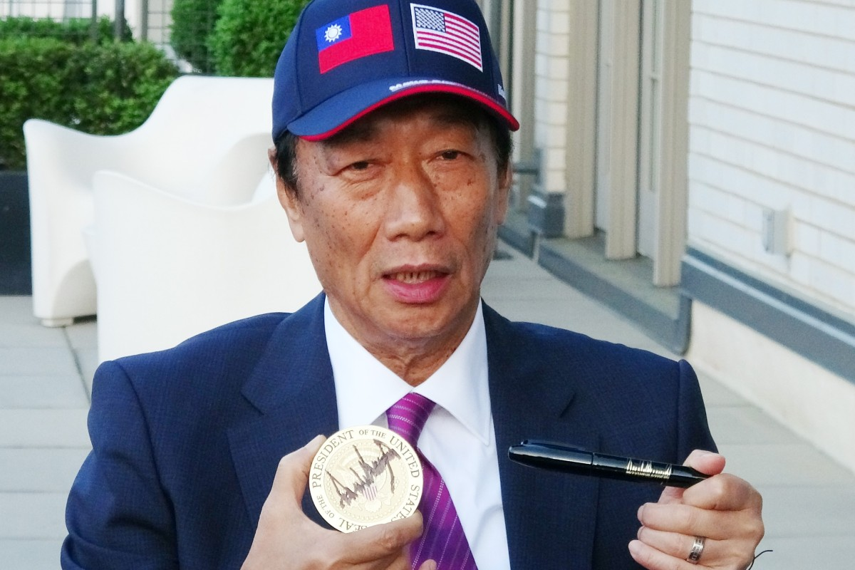 best service 82d24 fa1f4 Foxconn billionaire and Taiwanese presidential hopeful Terry Gou with a  White House coaster autographed by US