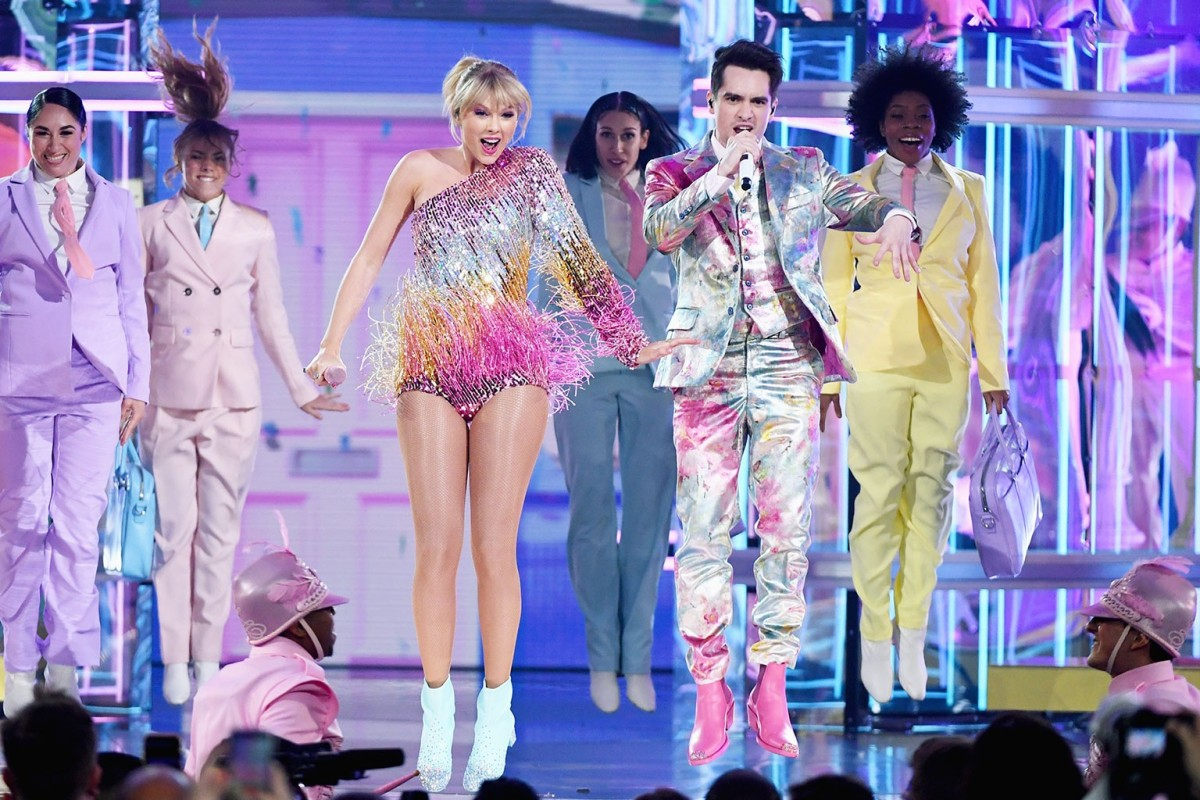 de839d83a6bb8 Taylor Swift performs her latest song ME! with Brendon Urie at the 2019  Billboard Music