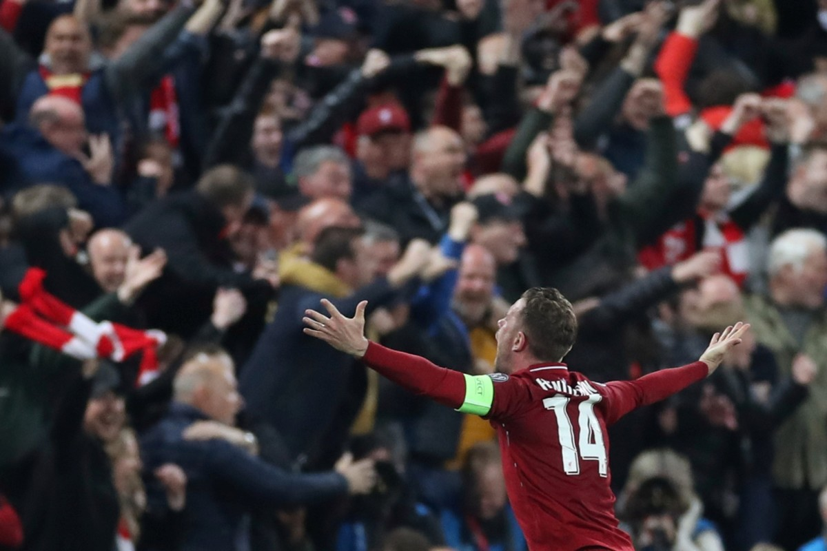0e7d5c774bed Liverpool captain Jordan Henderson celebrates after the win over Barcelona.  Photo  Reuters