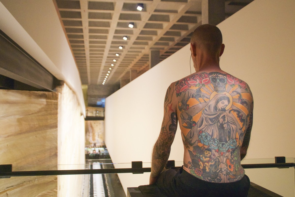 a1d04a4d7 Human artwork Tim, his back covered in a tattoo applied over two years by  Wim