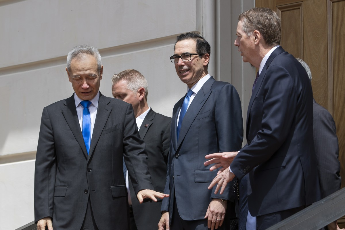 Chinese Vice-Premier Liu He visits Washington for talks with the US' Steven Mnuchin (centre) and Robert Lighthizer last week despite fresh US tariff increases. Photo: EPA-EFE