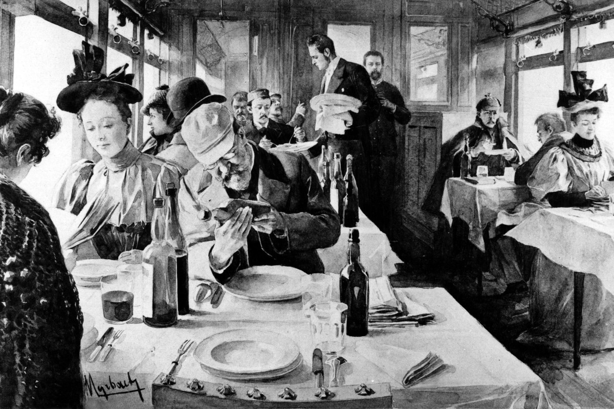 a72cfc57143 A drawing by Felician von Myrbach-Rheinfeld of the famous Orient Express s  dining carriage circa