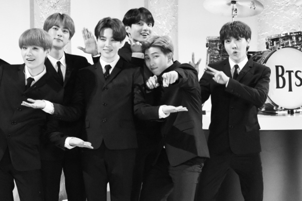0a605eed93a7 BTS on The Late Show with Stephen Colbert dressed like The Beatles for a  performance of