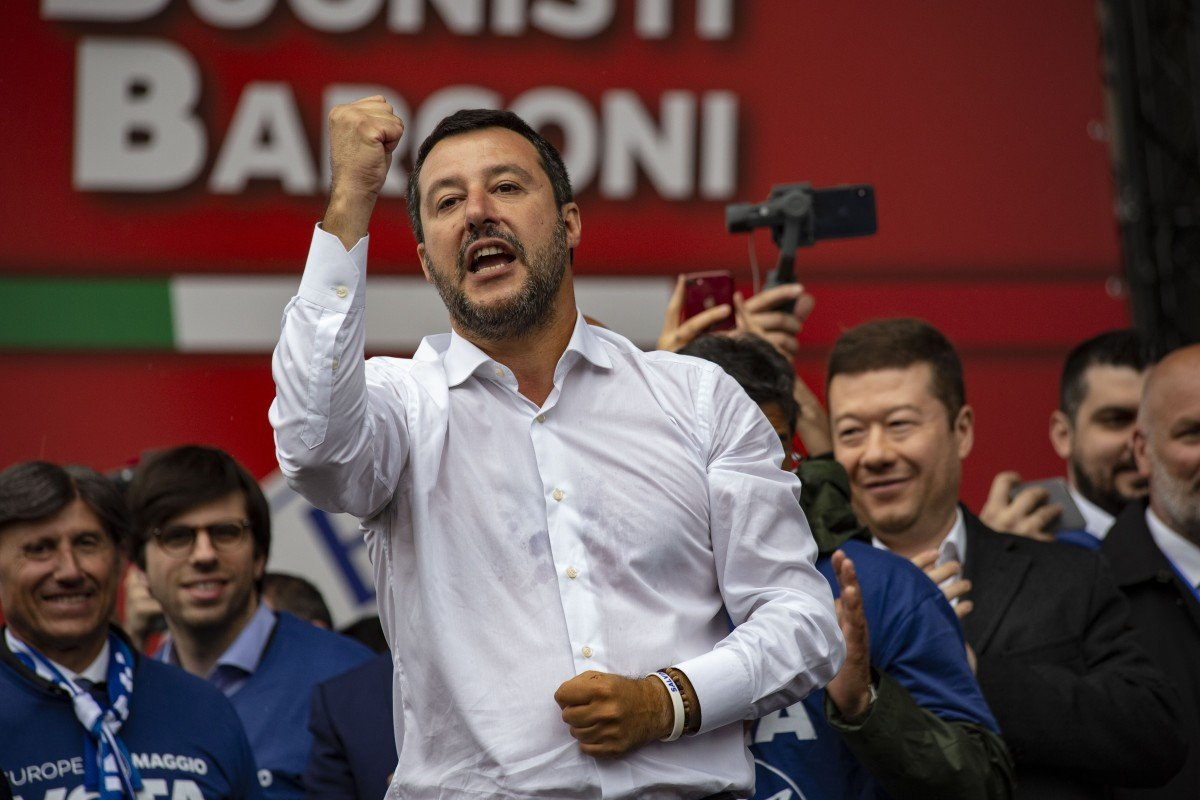 Matteo Salvini, Italy's deputy prime minister, speaks during the campaign rally in Milan. Photo: Bloomberg