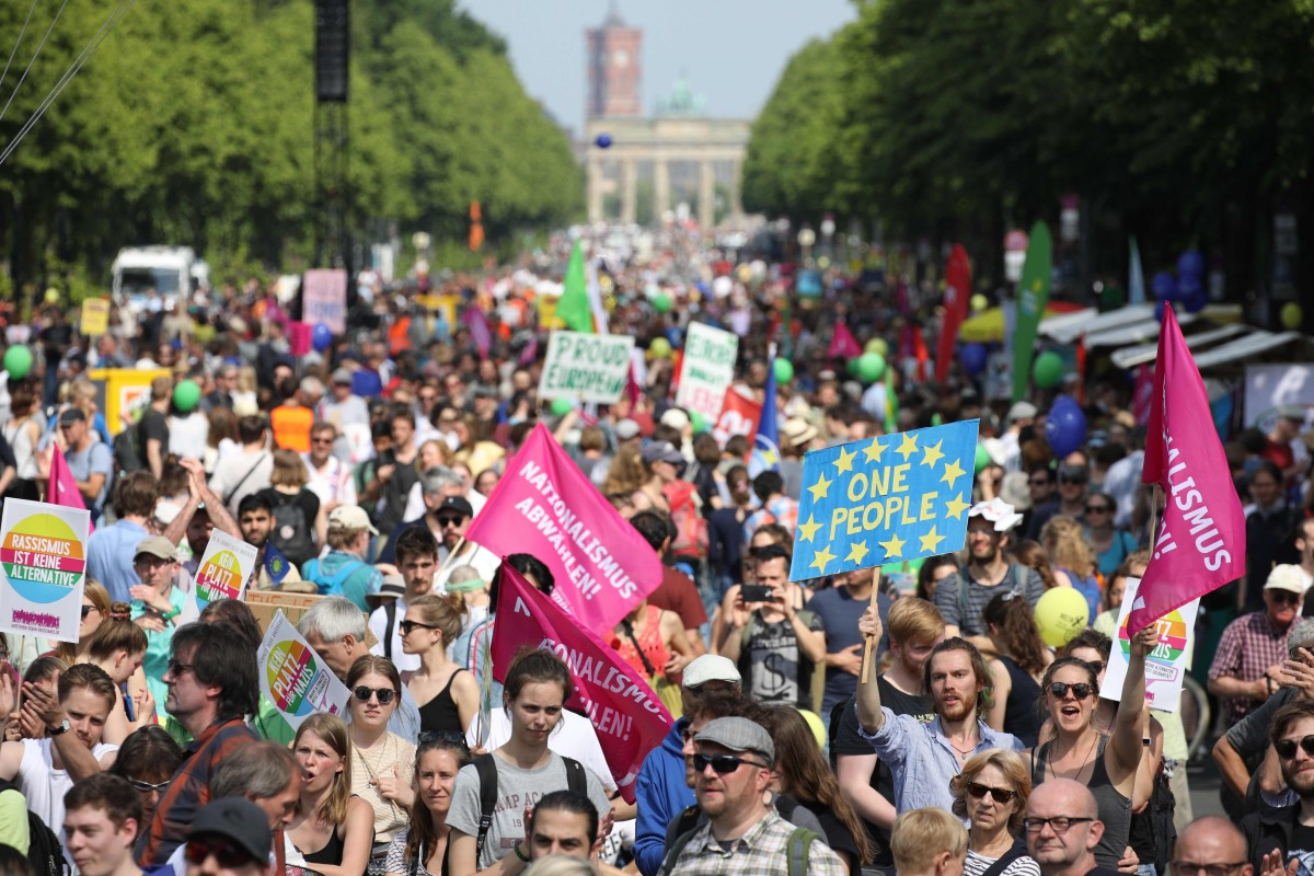 Thousands rally in Germany against nationalism and far-right parties ahead of European vote