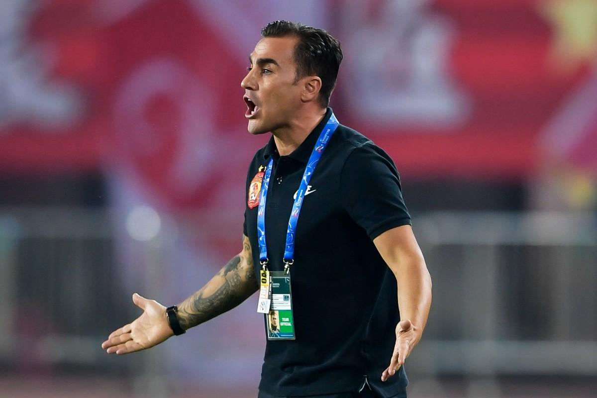 dce71067a Guangzhou Evergrande s head coach Fabio Cannavaro reacts during an AFC  Champions League game. Photo