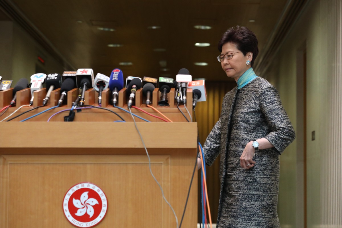 Hong Kong leader Carrie Lam defends Beijing's involvement in extradition bill row, pointing out foreign...