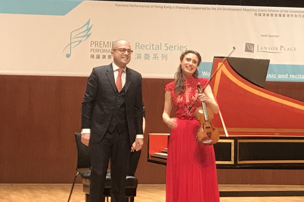 e4d69cca7e39d Violinist Jennifer Pike and Iranian-born harpsichordist Mahan Esfahani  receive the applause of the audience