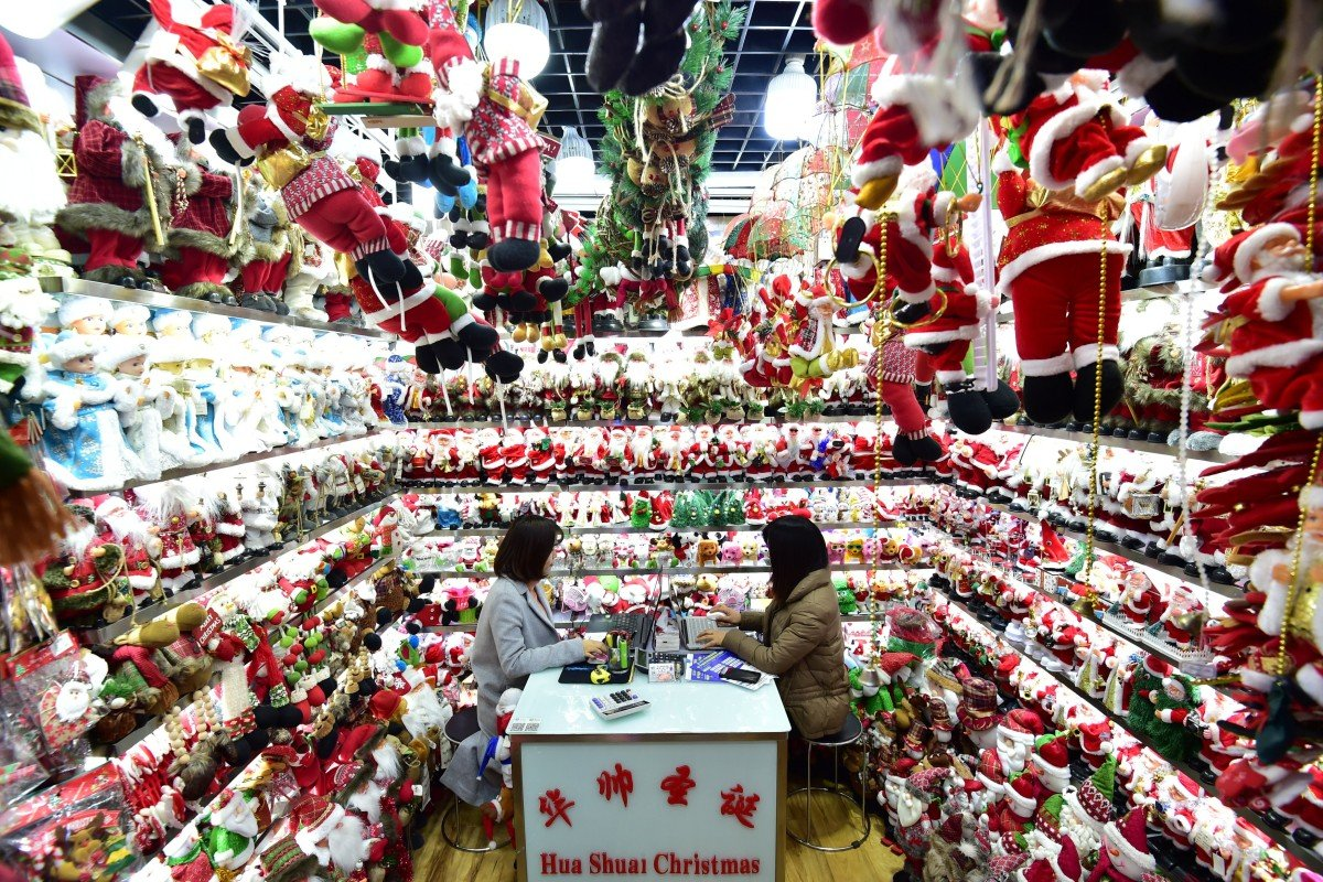 A stall selling Christmas decorations at the Yiwu International Trade Market in Yiwu, Zhejiang province