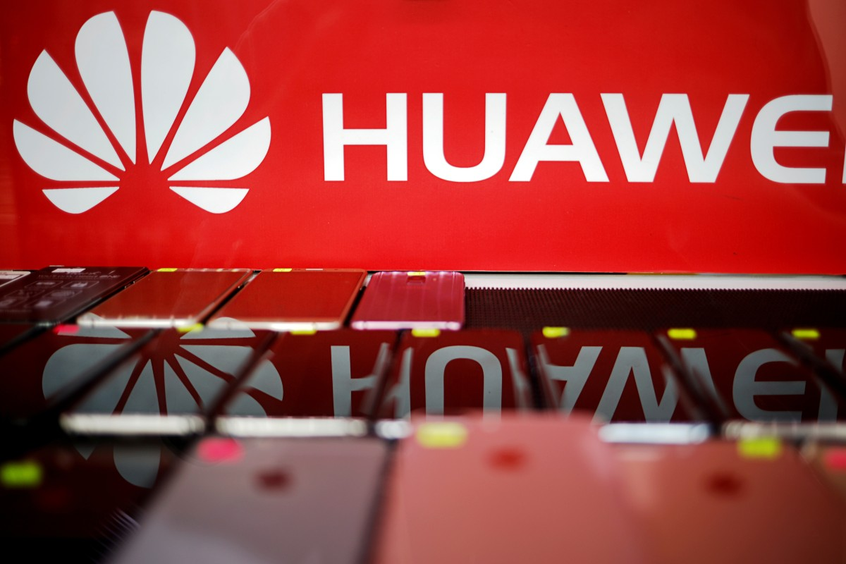 The Huawei logo at a mobile phone shop in Singapore on Tuesday. Photo: Reuters