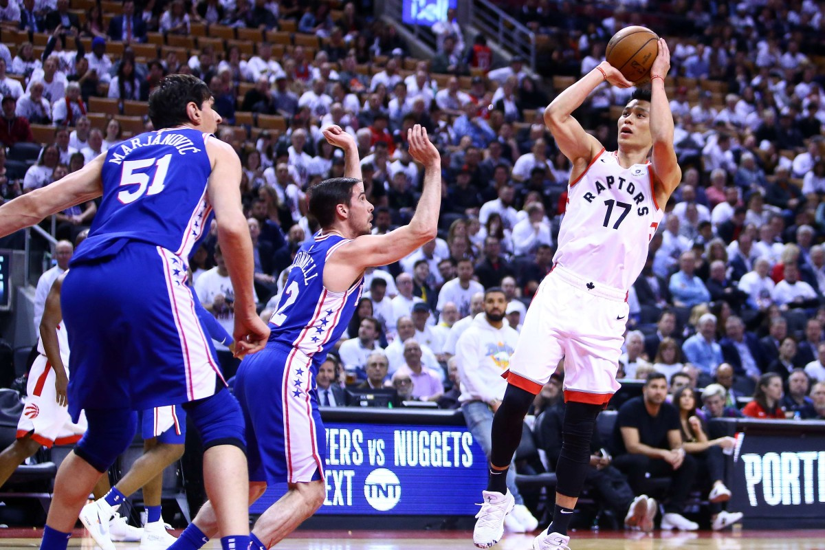 402af8d18 Jeremy Lin of the Toronto Raptors shoots the ball against the Philadelphia  76ers in game five