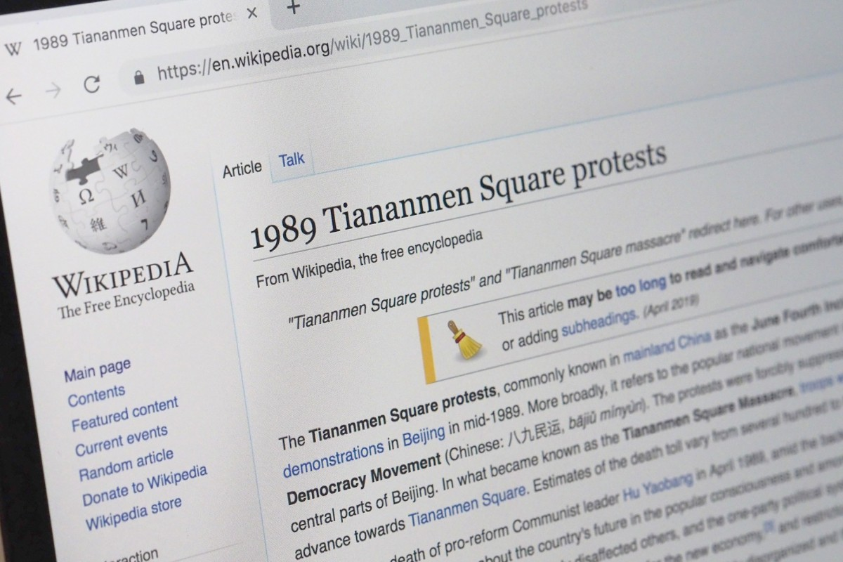 Wikipedia blocked in China ahead of Tiananmen Square