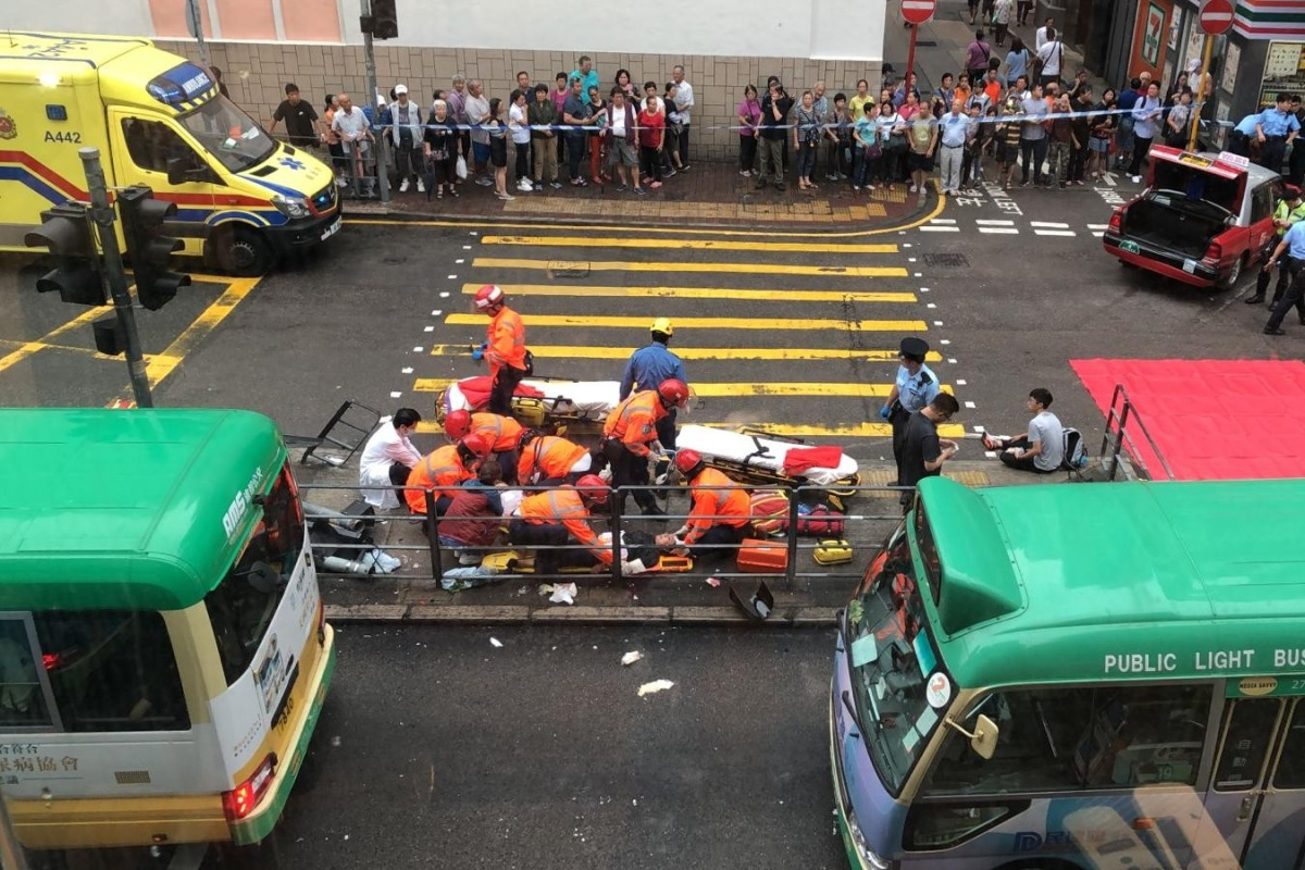 Ten hurt in Hong Kong Island taxi crash during morning