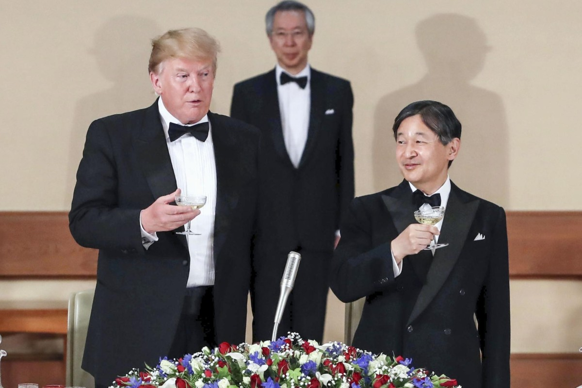 265c0deaa9d19 US President Donald Trump and Japanese Emperor Naruhito at the Imperial  Palace in Tokyo. Photo