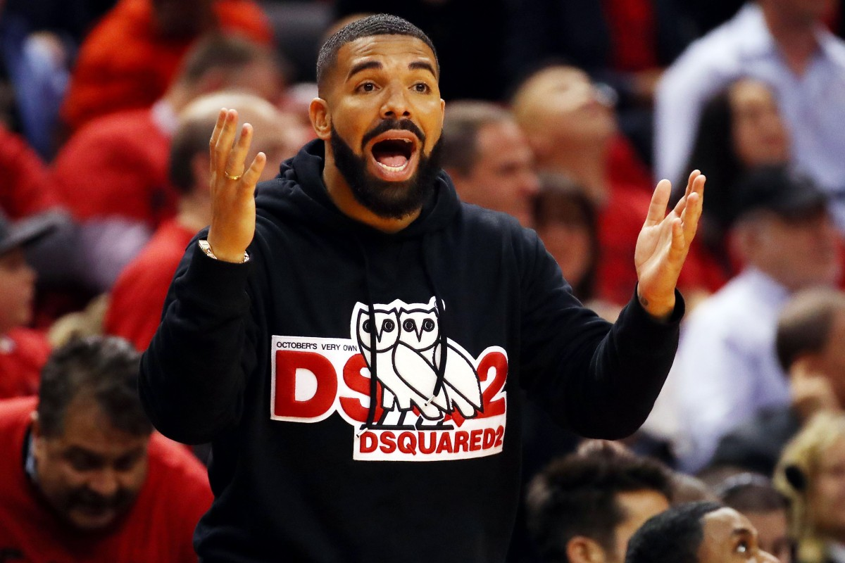 4d6efffe26 Rapper Drake reacts in game four of the NBA Eastern Conference Finals  between the Milwaukee Bucks