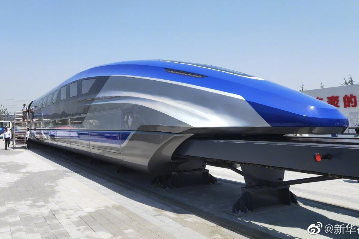 One possible future for rapid transport in China is unveiled in the form of a magnetic levitation train at Qingdao in Shandong province. Photo: Weibo