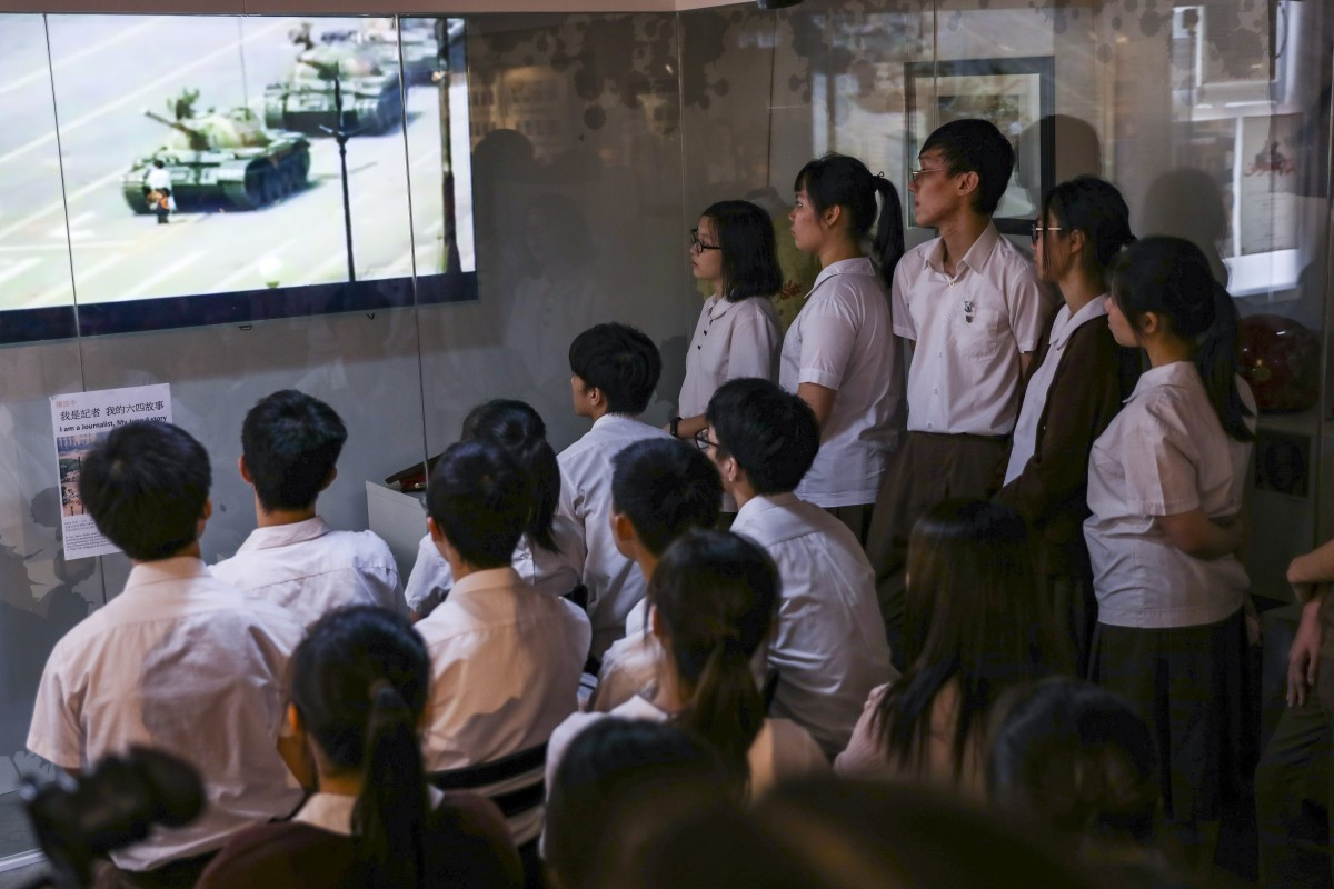 Students visit the June 4 Museum in Mong Kok on Monday ahead of the 30th anniversary of Tiananmen Square crackdown. Photo: Nora Tam
