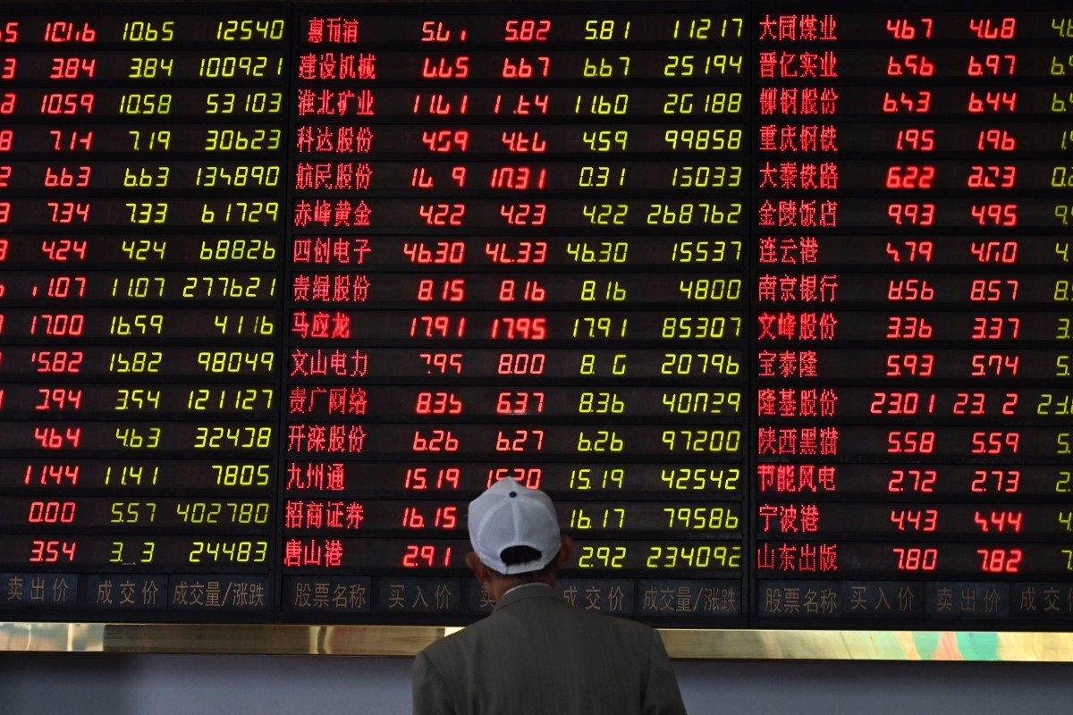 fc87ac25 An investor monitors stock price movements at a securities company in  Shanghai on May 8,