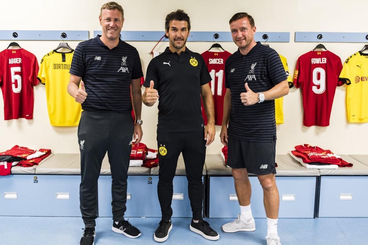 4cbea999143 Liverpool FC Legend Stephane Henchoz and Vladimir Smicer flank Borussia  Dortmund Legend Karl-Heinz Riedle