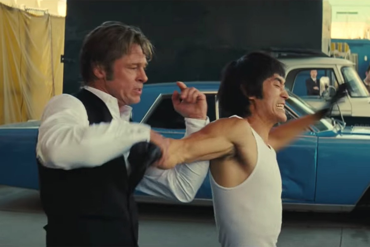 8397fdb99cf302 Brad Pitt and Mike Moh, playing Bruce Lee, in the trailer for Quentin  Tarantino's