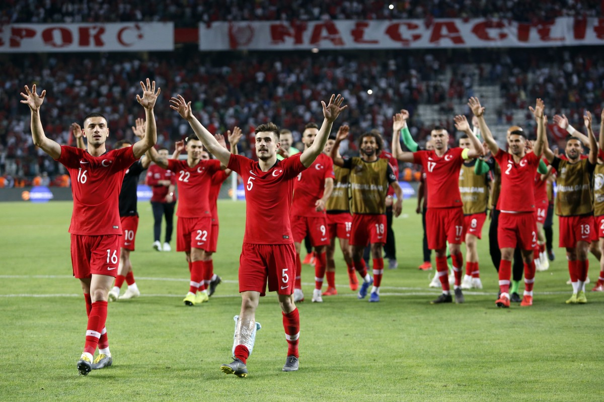 e2636f1a15a Turkey players celebrate winning their Uefa Euro 2020 qualifier against  France in Konya. Photo: