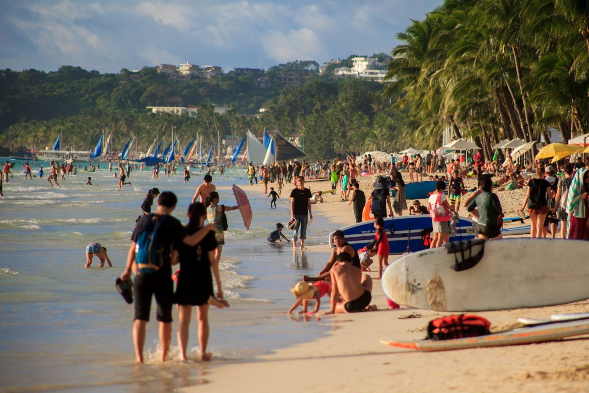 Tourists enjoy Boracay's famous White Beach in January. Photo: Shutterstock