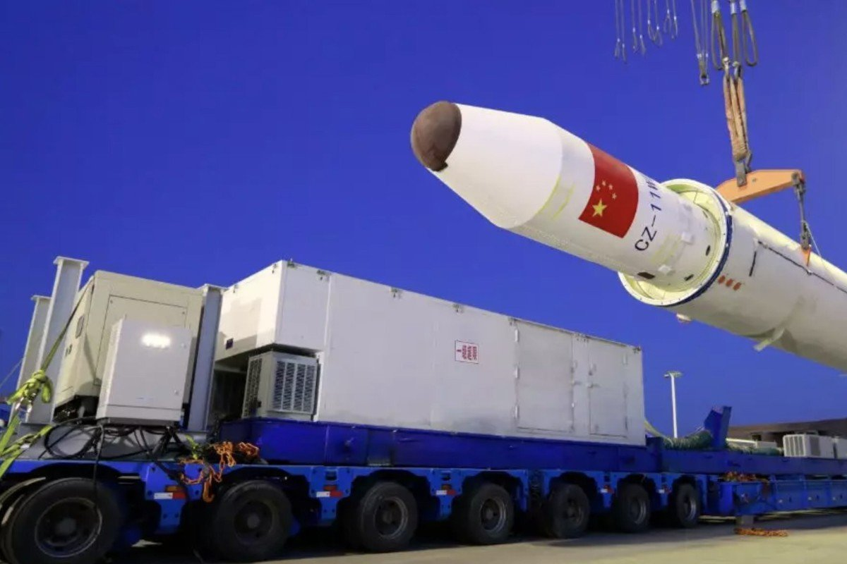 Chinese space authorities prepare to launch a rocket from a commercial cargo ship at sea. Photo: Handout