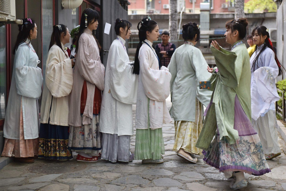 Women wear Han-style clothing in Beijing as part of April's Traditional Chinese Costume Day celebration. Photo: AFP