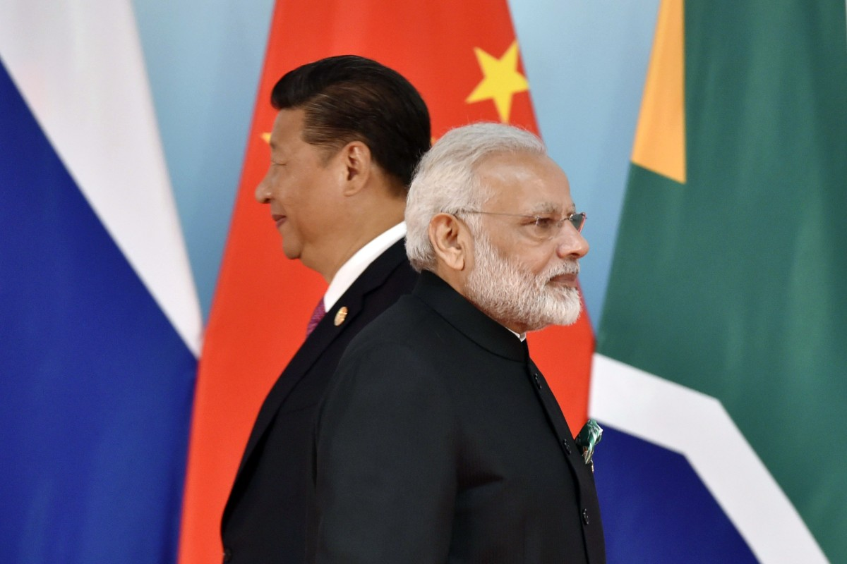 Chinese President Xi Jinping and Indian Prime Minister Narendra Modi at the BRICS Summit at the Xiamen International Conference and Exhibition Center in 2017. Photo: AFP