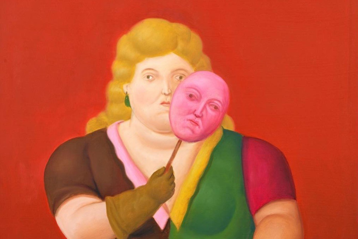 4324eb9ee Detail from Fernando Botero's Woman With Mask and Trumpet, one of the major  artworks for