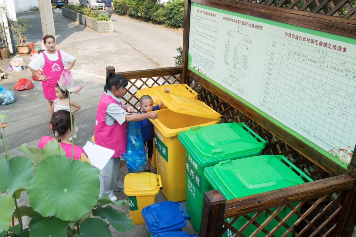 The sorting of household waste is more of a novelty than the norm in China. Photo: Xinhua