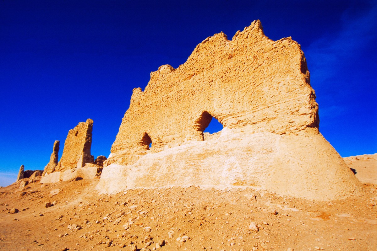 The ruins of a fortified gatehouse and cus­toms post at Yunmenguan Pass, in China's Gansu province. Photo: Alamy