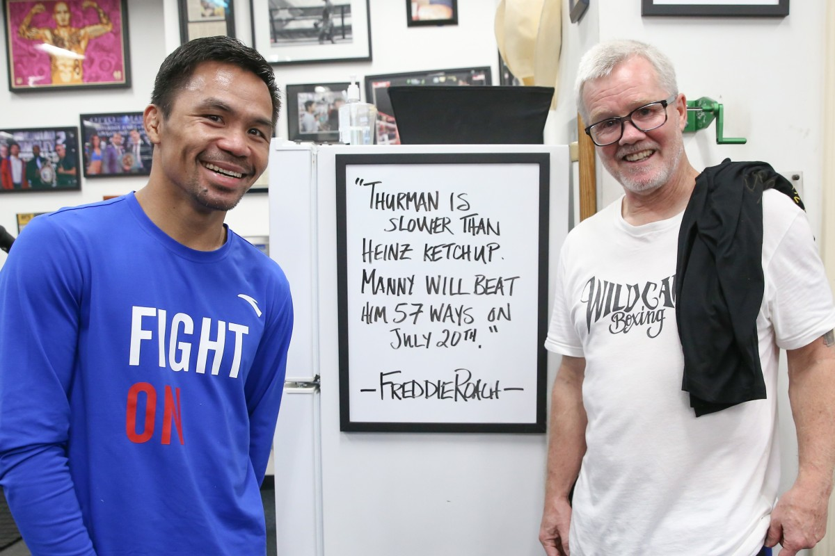 timeless design 1407b c7d62 Manny Pacquiao's trainer says Keith Thurman is 'slower than ...