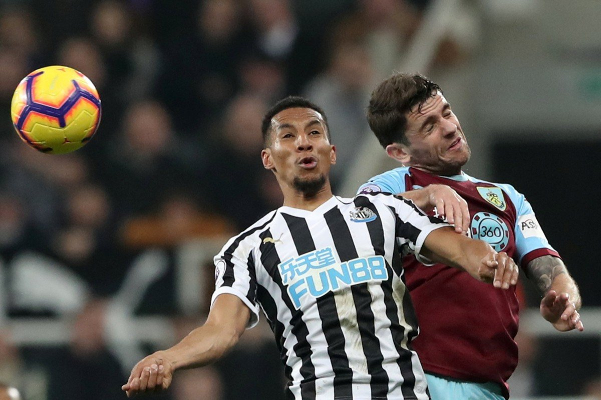 a16be739 Newcastle United take on Burnley in last season's English Premier League.  Both were sponsored by