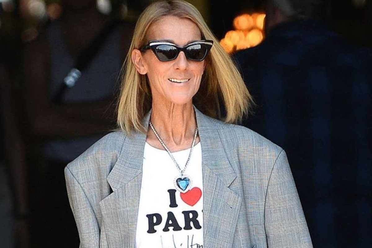 0095bb3ac23 Celine Dion wears a costume version of the Heart of The Ocean necklace  during Paris Fashion