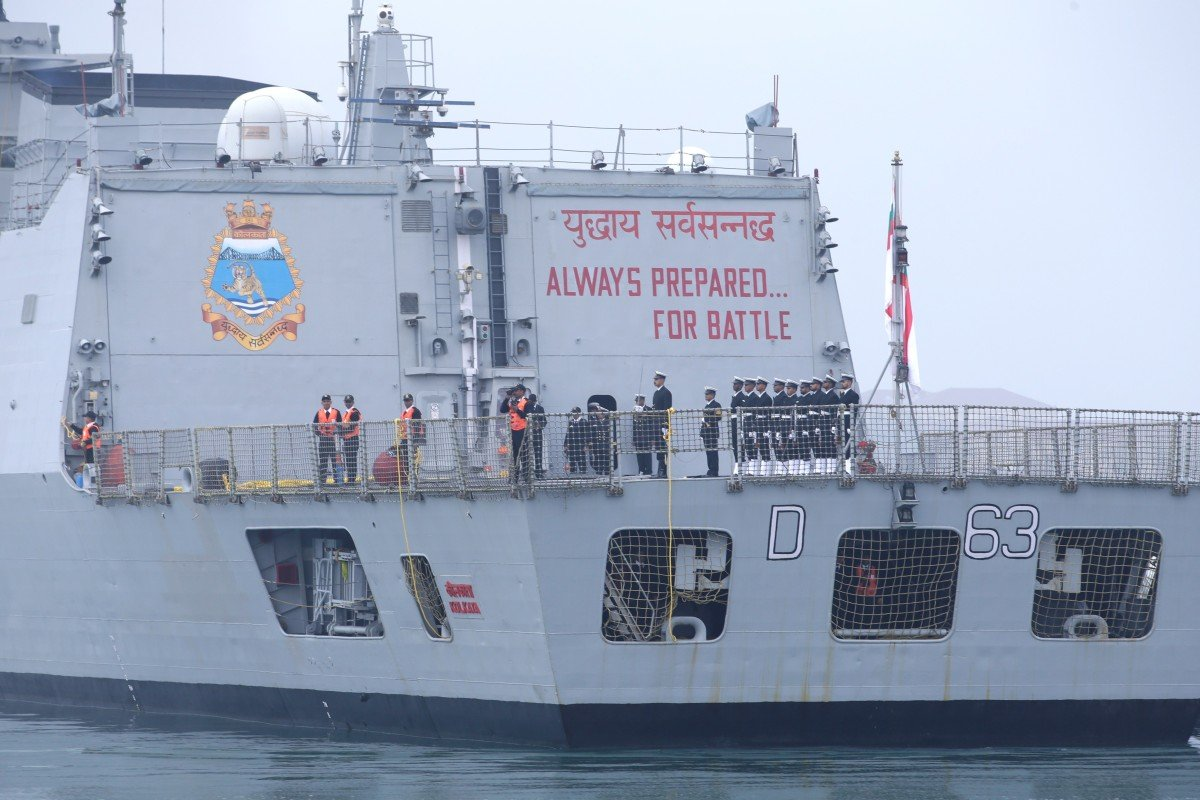 The INS Kolkata arrives in Qingdao for PLA Navy 70th anniversary celebrations in April. The Indian ambassador called for more communication between the two navies. Photo: Reuters