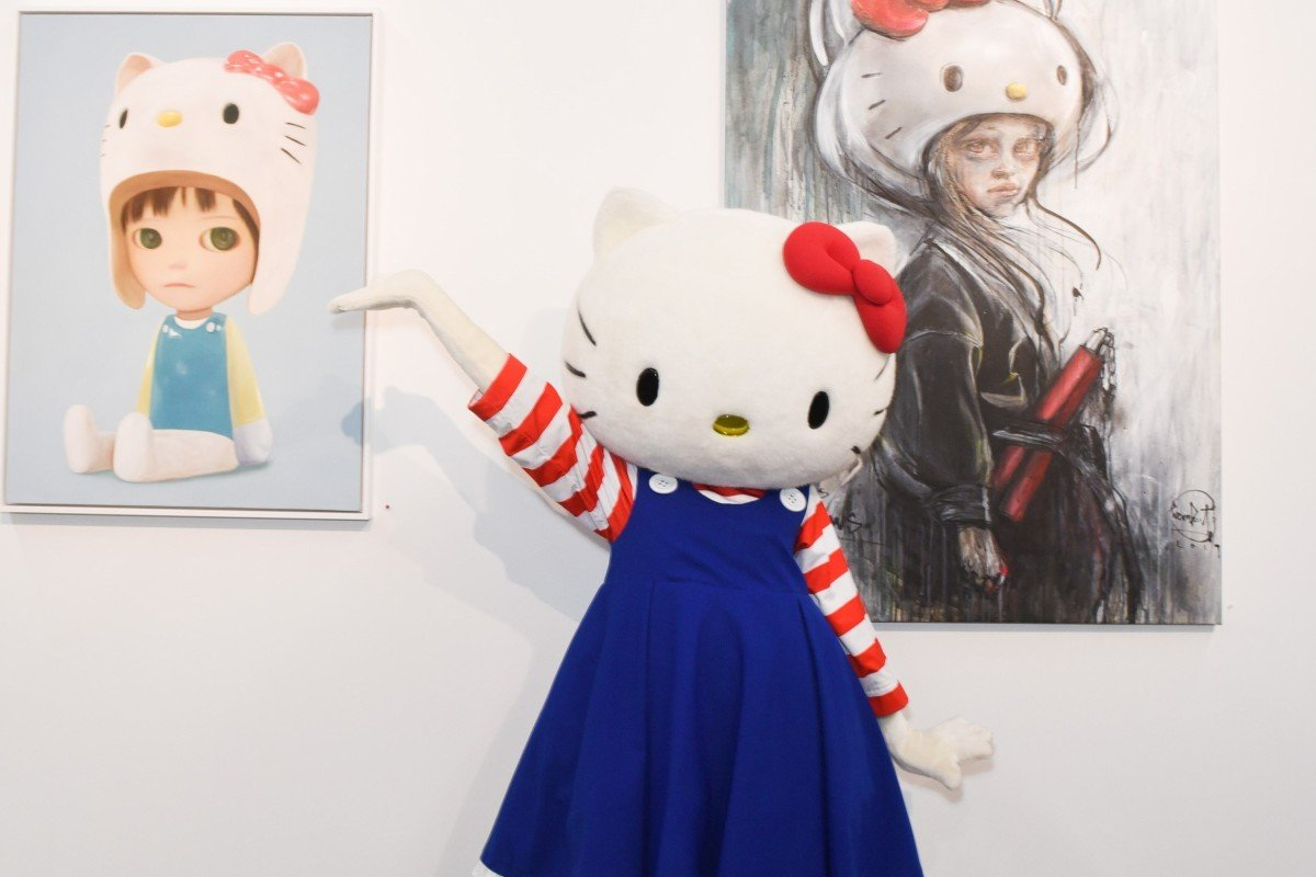 43721d011 Hello Kitty, the mouthless character with a childlike hair bow and  registered height of five