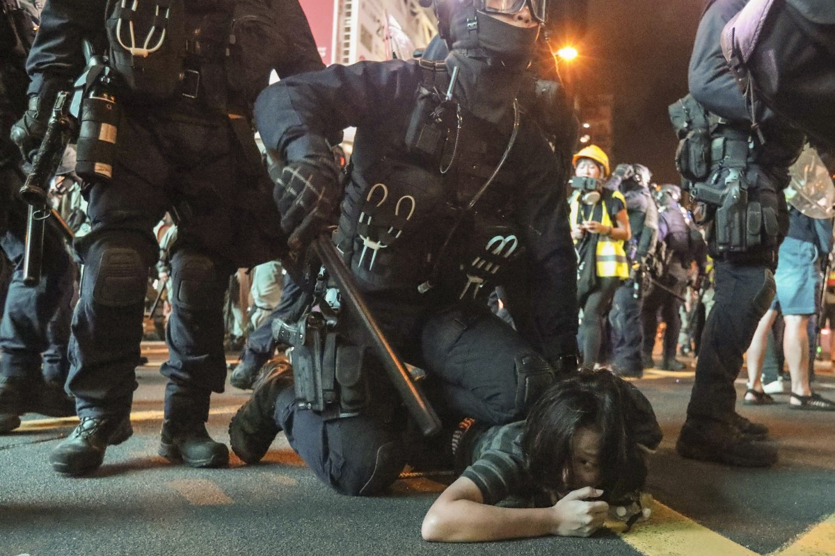 The Police Special Tactical Squad takes down an anti-extradition bill protester in Mong Kok on August 3. Could Hong Kong cope with a mass disaster? Photo: Felix Wong