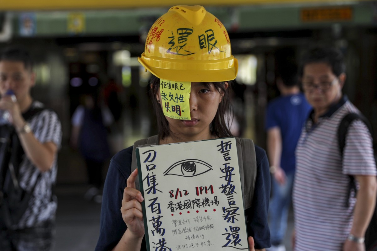Protesters plan to descend on Hong Kong aiport again for a demonstration on Monday, stirred by a woman being shot in the eye on Sunday. Photo: Sam Tsang
