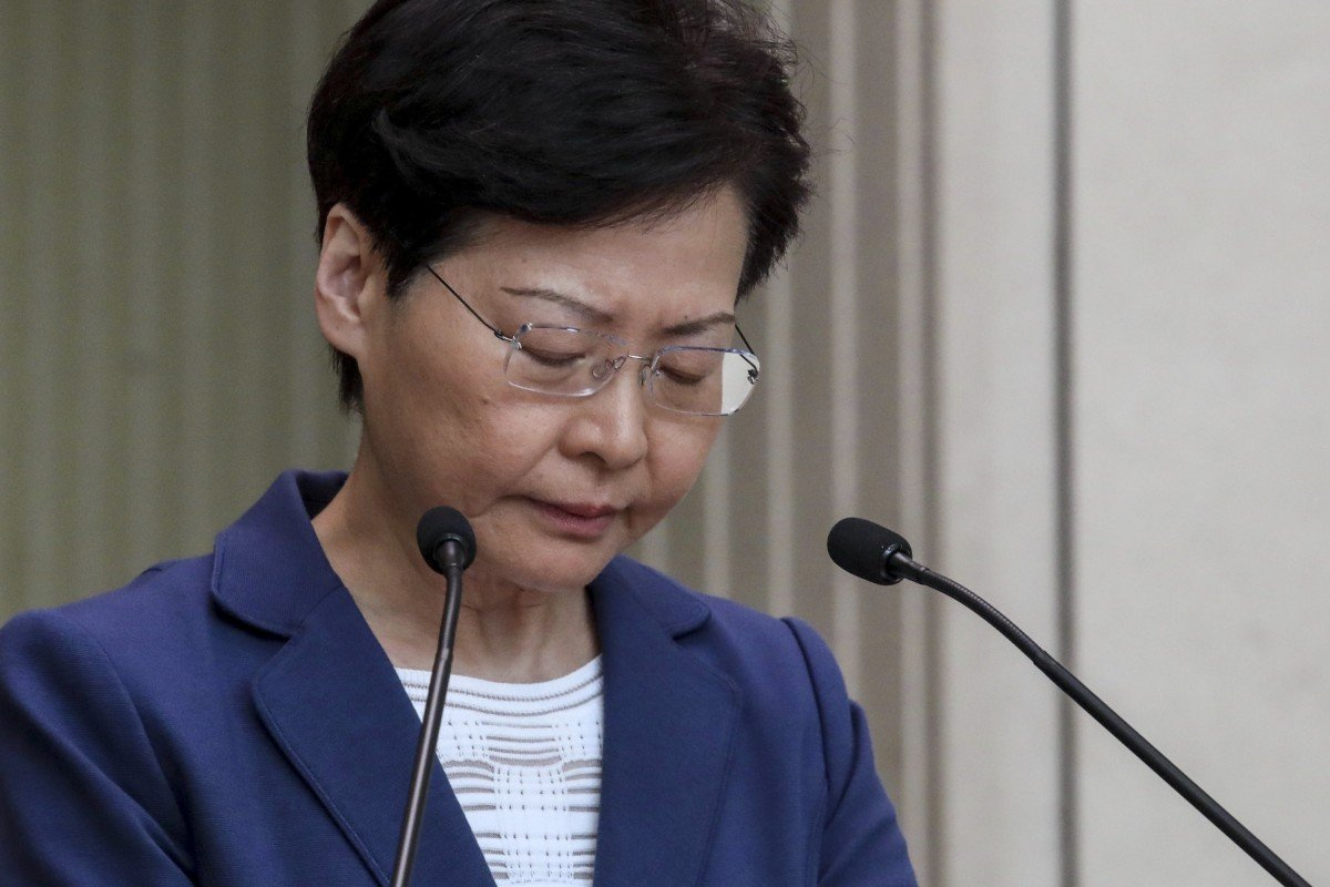 Carrie Lam appeared on the verge of tears as she spoke to the media on Tuesday. Photo: Nora Tam
