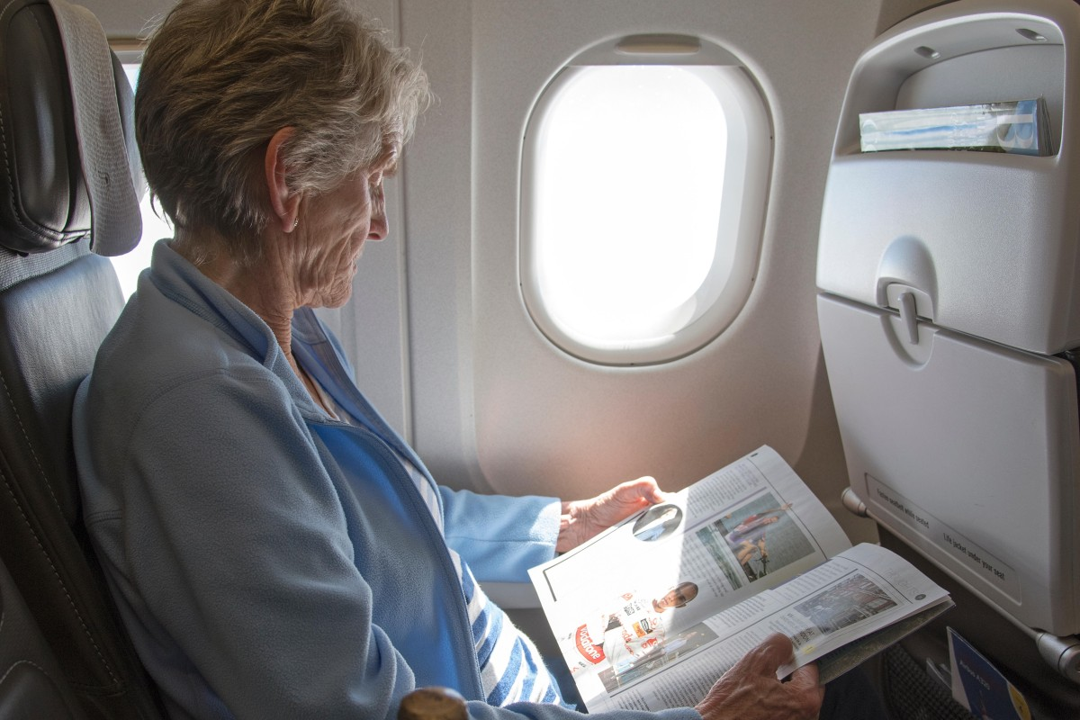flying long-haul when you're old: sit near the lavatory and