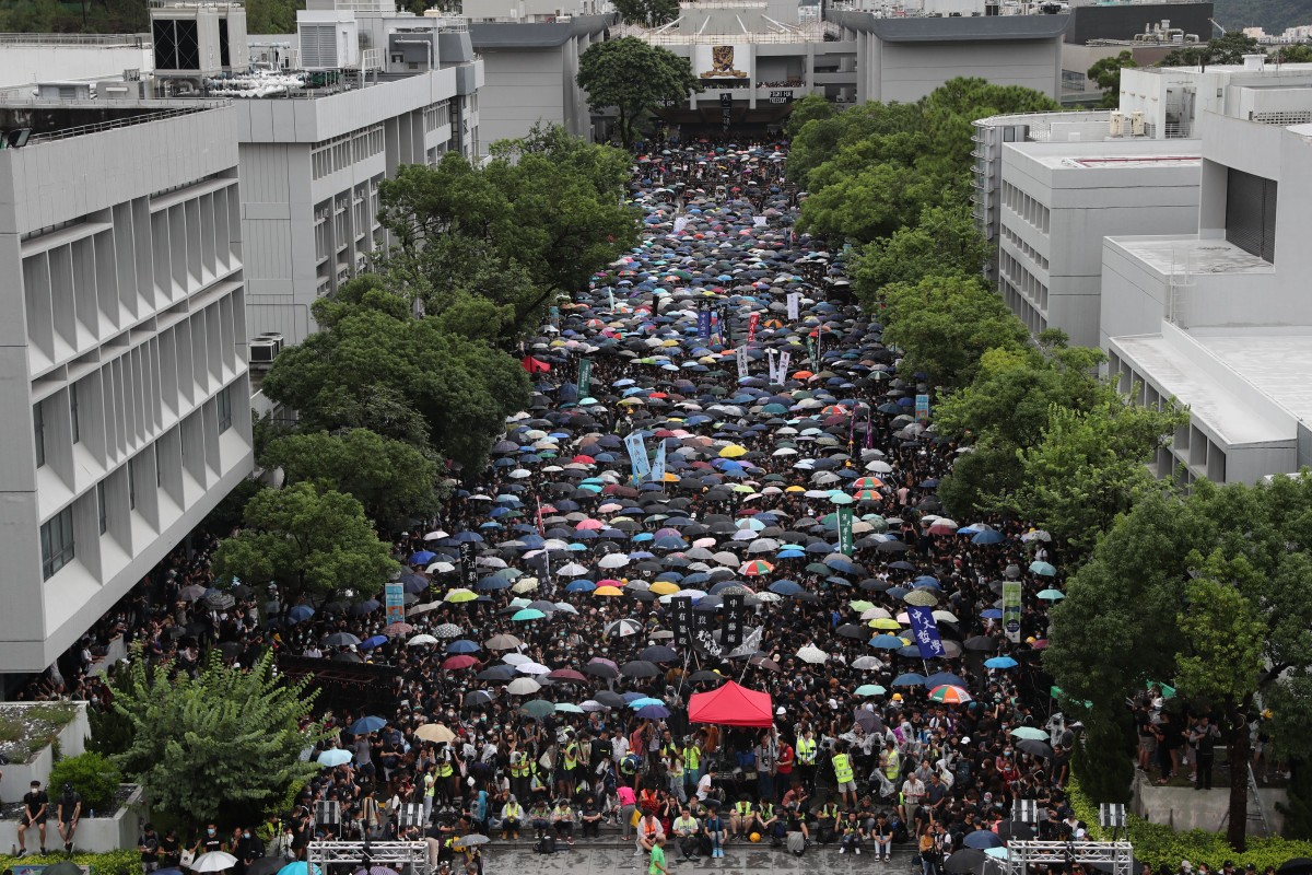 Protesters fill the University Mall in Sha Tin. Photo: Sam Tsang