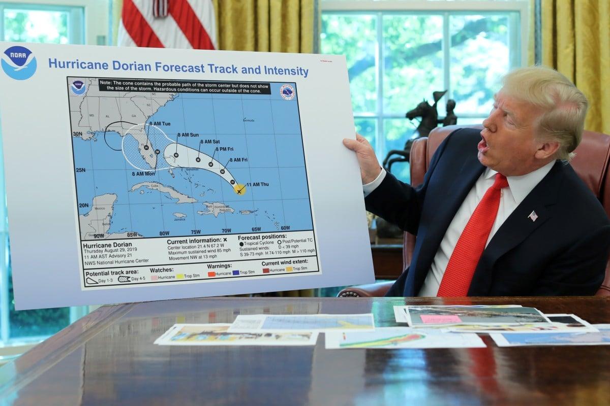 Donald Trump shows fake Hurricane Dorian map to validate his