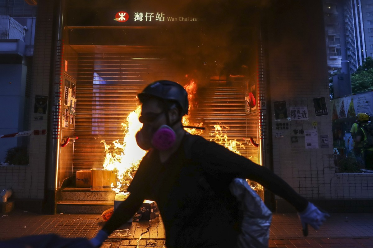 MTR services resume after violent Hong Kong protests forced closure of Wan Chai, Admiralty and Causeway Bay...