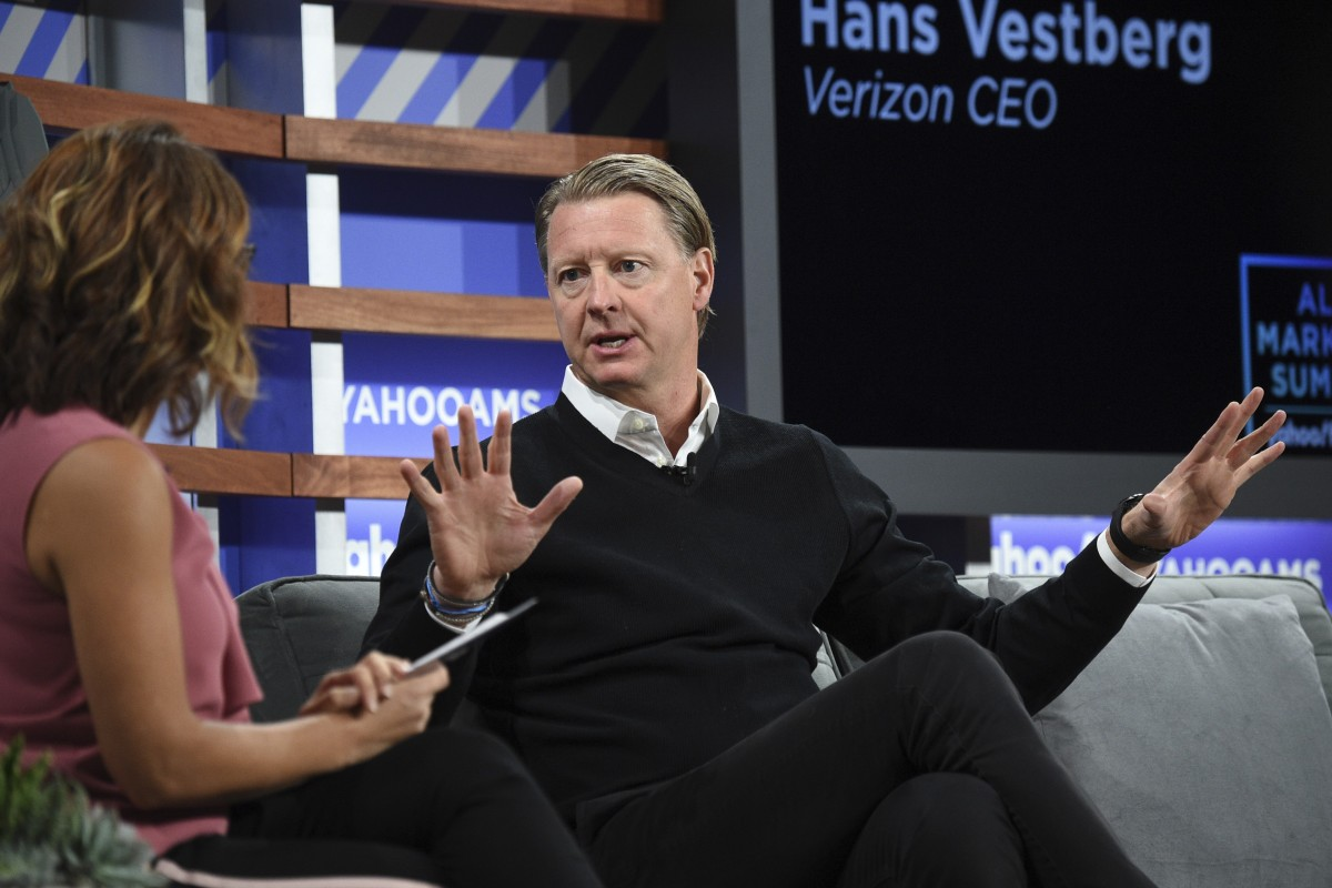 Verizon Communications chief executive Hans Vestberg interviewed during the Yahoo Finance All Markets Summit in New York on Thursday. Photo: Invision via AP