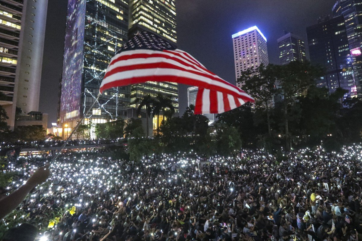 Hong Kong protesters fill Chater Garden and spill onto nearby roads in Central, calling for United States...