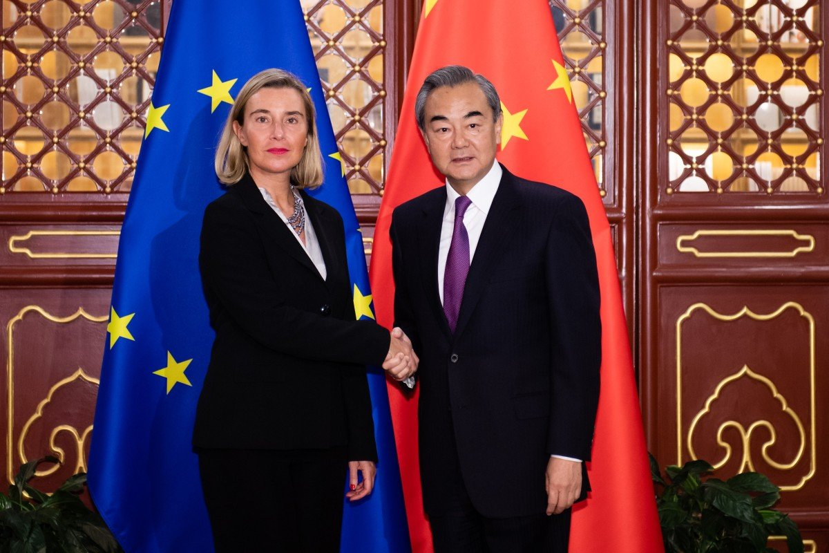Chinese Foreign Minister Wang Yi met his EU counterpart Federica Mogherini in Beijing on Tuesday. Photo: Xinhua