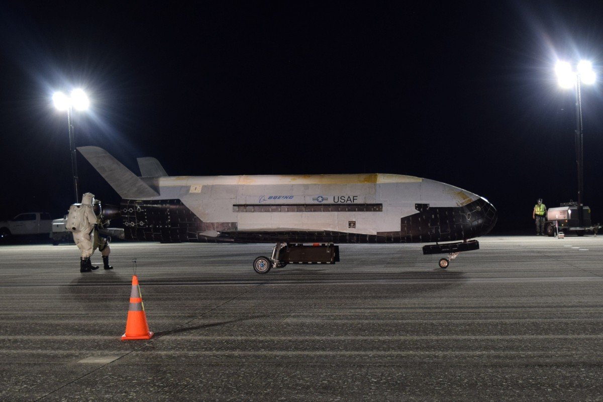 The US Air Force's X-37B after landing at Nasa's Kennedy Space Centre in Florida on Sunday. Photo: Handout