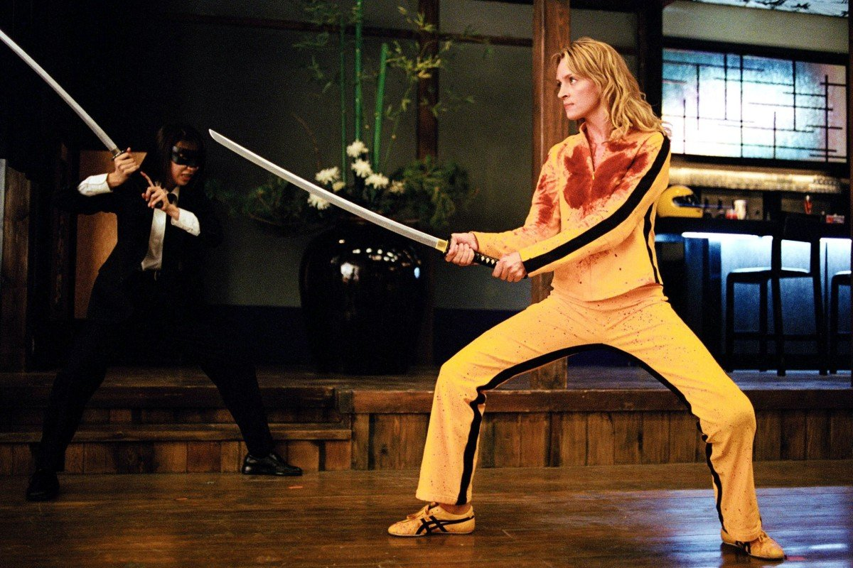American actress Uma Thurman wearing fashionable retro-look Onitsuka Tiger trainers in the 2003 Quentin Tarantino movie, Kill Bill. The marketing masterstroke enabled stand-alone Onitsuka Tiger boutiques to open in Japan, as well as Hong Kong, Paris, Berlin, London and Seoul. Photo: Handout